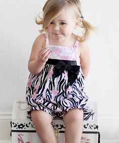 Take a look at this Pink & Black Zebra Bubble Romper - Infant by Nesting Baby on #zulily today!