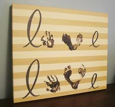"Handprint and Footprint ""Love"" Canvas Art, for 2 Children, 20x24"", by SnowFlowerArts, $68.00"