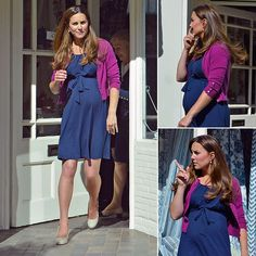 Pregnant Kate Middleton squeezed decorating time into her busy schedule last Tuesday, when she stopped by a luxury design store in London. She wore a blue ASOS maternity dress as she popped into Bernard Thorp to look at fabrics, reportedly for her new home with Prince William in Kensington Palace. June 2013