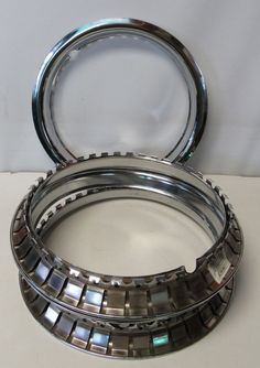 """14"""" CHROME Trim Rings Beauty Rims Glamour Ring Rim Edge Bands Nos Set Of 4 #AutoZone Online Auto Parts Store, Toys For Boys, Boy Toys, Steel Wheels, Bands, Chrome, Glamour, Beauty, Big"""