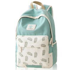 Sweet Leaf School Rucksack Leaves Printed Lady College Canvas Backpack