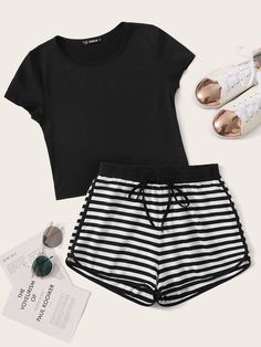 Solid Top and Tie Waist Striped Dolphin Shorts Set Cute Lazy Outfits, Teenage Girl Outfits, Girls Fashion Clothes, Teenager Outfits, Teen Fashion Outfits, Stylish Outfits, Cool Outfits, Fashion Sets, Cute Pajama Sets