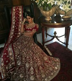 Classic Red :Timeless Bridal wear 2016 collection Old world craft 😊 Traditional and cultural look is elegant.Nice combination of colours. Wedding Lehenga Designs, Designer Bridal Lehenga, Indian Bridal Lehenga, Indian Bridal Outfits, Indian Bridal Fashion, Indian Bridal Wear, Pakistani Bridal Dresses, Indian Dresses, Wedding Dresses