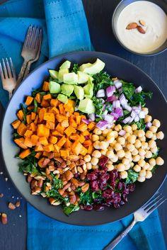 Chopped Kale Power Salad with Lemon Tahini Dressing + Recipe Video - She Likes Food