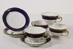 4 Kokura Ware Japan Porcelain Cobalt Blue & Gold Cups & Saucer Sets 8 - RoofTop Antiques