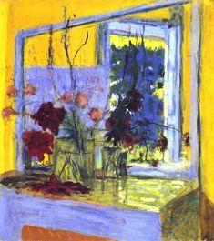 Flowers onafireplacein Clayes - Edouard Vuillard
