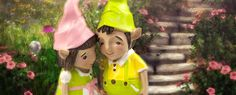 Mini gnome couple in the fairy garden.