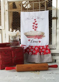 """Valentine Flour Sack Kitchen Towel """"Made with Love"""" Baking Pie Hearts by SweetMagnoliasFarm"""