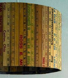 Lampshade made from vintage rulers and yardsticks, love the character of this!