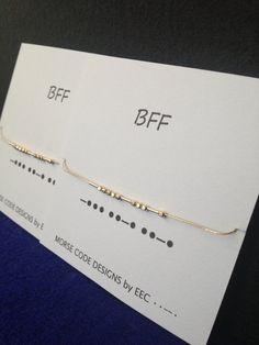 Set of 2 BFF morse code bracelets, best friends bracelets, beaded bracelet, best bitches, silver or gold filled - Armband İdeas Bracelets Bff, Best Friend Bracelets, Best Friend Jewelry, Beaded Bracelets, Silver Bracelets, Cross Necklaces, Choker Necklaces, Necklace Set, Bff Gifts