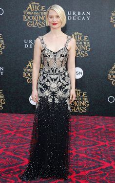 """Mia Wasikowska at the """"Alice Through the Looking Glass"""" Los Angeles Premiere in Alexander McQueen."""