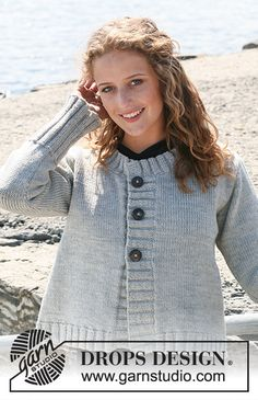 """Knitted DROPS jacket with rib borders in """"Karisma"""" or Drops Design, Free Knitting Patterns For Women, Magazine Drops, Grey Sweater, Crochet, Free Pattern, Knitwear, Sweaters For Women, Thing 1"""