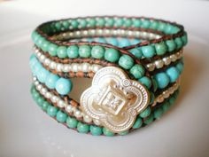 Single Leather Wrap Cuff Turquoise Magnesite 5 by RopesofPearls, $72.00