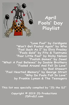"No fooling! Here's a list of some ""fool"" songs for April Fools' Day! Ricky Nelson, Fooling Around, Baseball Season, April 1st, Home Team, April Fools Day, Bruce Springsteen, Greatest Songs, The Fool"