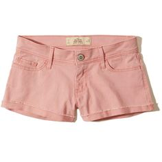 Hollister Low-Rise Twill Short-Shorts (€33) ❤ liked on Polyvore featuring shorts, pink, hollister co. shorts, twill shorts, hot pink shorts, hot pink pants and hot short shorts