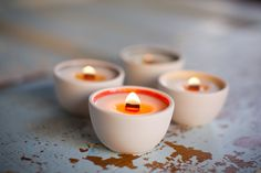 Adorable votives made by Pigeon Toe and filled by Luminology. You can pick the fun pop of color that goes in them! :) $18 on Etsy #candle #home #decoration