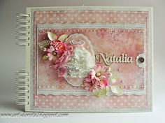 Dorota_mk: Baptism of Natalia Card Making Designs, Mixed Media Cards, Mini Scrapbook Albums, Vintage Crafts, Altered Books, Album Covers, Scrapbooking, Cardmaking, Shabby Chic