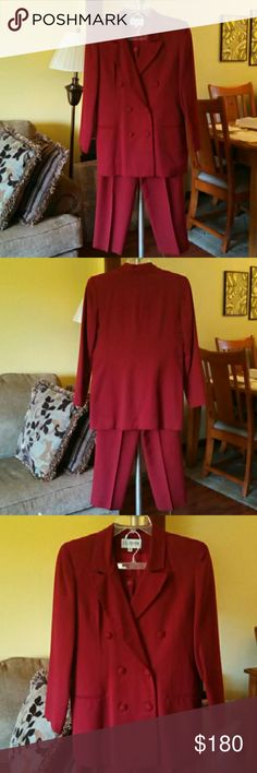 "Vintage 1990s Red 2 Piece Pantsuit Vintage 1990s red 2 piece pantsuit. The jacket is double breasted with shoulder pads and 2 front faux pockets. The pants are pleated with 2 front pockets, zipper & front button closure. There are 4"" elastic strips on the back of each side. The elastic may need replaced. Great fall color! The suit is in excellent condition with all buttons in tact. No stains. The pants are still creased from the last time they were dry cleaned. Classic style! :-) Vintage…"