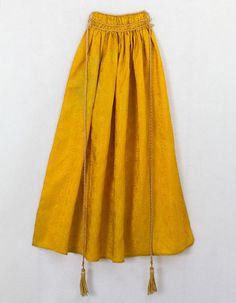 Marigold yellow silk damask apron, c.1810