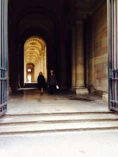 Lovely Parisian couple leaving the louvre