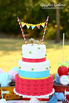 Come One, Come All…It's a Circus Party. Ticket Cake by  www.gigglesgalore.net #stylishkidsparties #circus #party