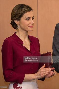 Queen Letizia listens a speech given by Felipe VI during a meeting with members of the Spanish Community at Hospital Espanol on June 30, 2015 in Mexico City, Mexico. The Spanish Monarchs are in their second state visit since the proclamation of Felipe VI as Spanish King last June 19th of 2014.