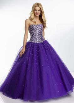 Mori Lee 95036 - Deep Purple Beaded Ball Gown Prom Dresses Online #thepromdresses