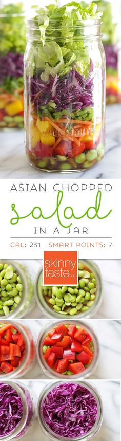 Asian Chopped Salad with Sesame Soy Vinaigrette (In a Jar) –perfect for lunch on the go!  Weight Watchers Smart Points: 7 Calories: 231