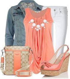 Loose orange shirt, white pants, and a jean jeacket.