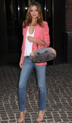 Oh Jesus she is perfect. Miranda Kerr street style, coral blazer on denim.
