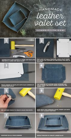 Parents appreciate handmade gifts from their kids on special occasions, so we came up with these simple and classy DIY leather valet trays for Father's Day Diy Leather Valet Tray, Diy Leather Gifts, Diy Leather Projects, Leather Diy Crafts, Handmade Leather, Vintage Leather, Leather Bag Tutorial, Leather Bag Pattern, Sewing Leather