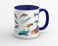 Yes The Abstract Fishes In A Diffely Styles Line Art This Microwave Safe Mug And Add Style To You Coffee Collection