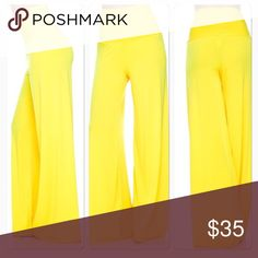 """Palazzo Pants Re-posting. Bright yellow, polyester palazzo pants with high waist and unfinished hem at bottom. Worn once, so pretty much brand new. No flaws. From the top of the waist to the bottom hem is 42"""", and I am 5'11 and wore 5"""" heels with them. They were still long enough to cover my shoes. Pants Wide Leg"""