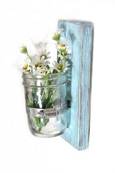 Shabby chic decor wood wall vase cottage style by OldNewAgain, $22.00