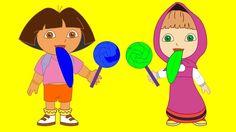 Masha and the Bear and Dora Cry when eat Ice Cream long tongue Spideman ...