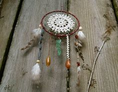 5 Eclectic Mauve and Steel Blue Crochet Doily Dream Catcher by REVIVEbyVictoria, $38.00