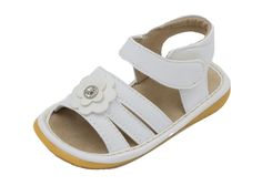 Squeaky Shoes | White Crystal Flower Toddler Girl Sandals