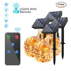Solar Powered String Lights with Remote, 100 LEDs 33 ft Copper Wire 8 Modes Fairy Lights, Outdoor Waterproof Decorative Lights for Christmas Garden Patio Party Tree Decor, Warm White Light by DAOTS