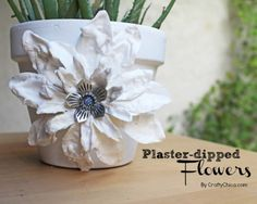 Here's a fun way to makeover dollar store flowers using Plaster of Paris, by CraftyChica.com.