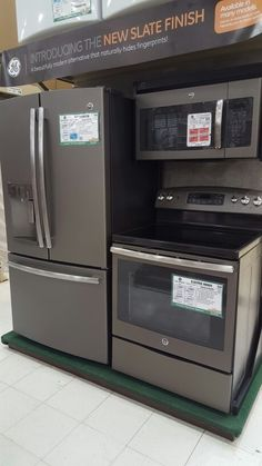 GE Slate Finish appliances. So beautiful and no fingerprints like stainless steel!