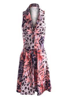 LADIES SLEEVELESS SEMI FITTED ANIMAL/LEAF/MULTI PRINT SHIRT SHORT SKATER DRESSES | eBay