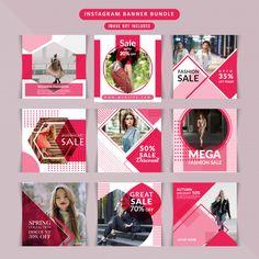 Fashion web banner for social media Vector Instagram Design, Layout Do Instagram, Instagram Banner, Instagram Post Template, Social Media Branding, Social Media Banner, Social Media Design, Social Media Marketing, Social Web