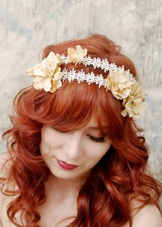 Golden flower headband, bridal head piece, regency hairband, hair accessory - Isadora. $35.00, via Etsy.
