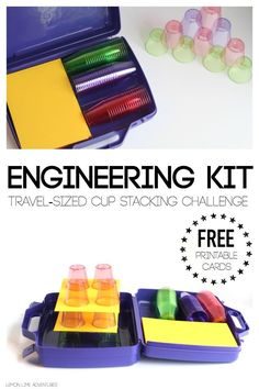Travel Engineering Kit for Kids Cup Stacking Challenge. This is a fun and easy diy activity idea that also makes great gifts.