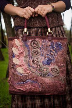 Felted Bag Handbag Purse Felt Nunofelt Nuno felt Silk Eco handmadered bag Fiber Art boho green bag a gift for woman rose vintage