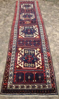 35x142 inches / 88 x 360 cm .Vintage Hand Made Runner Rug. Dark Blue Color Runner Rug.Kurdish Rug for Hallway .Runner for Corridor