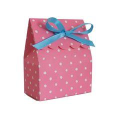 party supplies; Small Scalloped Pink Polka Dot Box