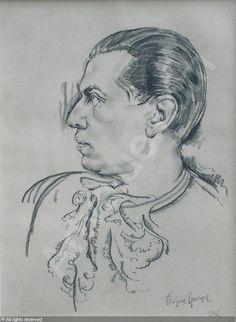 Portrait de Serge Lifar by Boris Grigoriev (Russian, 1886 - Russian Art, Paris, Portrait, Painters, Ballet Dance, Drawings, Inspiration, Style, Biblical Inspiration