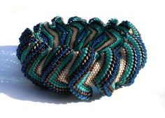 Teal and Bronze Peyote Waves Bangle by snozbucket on Etsy, $71.00