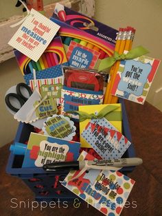 Teacher thank you basket. Everything could be used for next school year. Or do it as a welcome back gift, just change tags!
